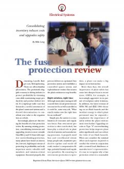 Cover of Fuse Protection Review Consolidating Inventory Reduces Costs and Upgrades Safety Article
