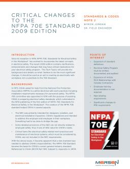 Cover of SCN2 - Critical Changes to the NFPA 70E Standard 2009 Edition - Tech Topic